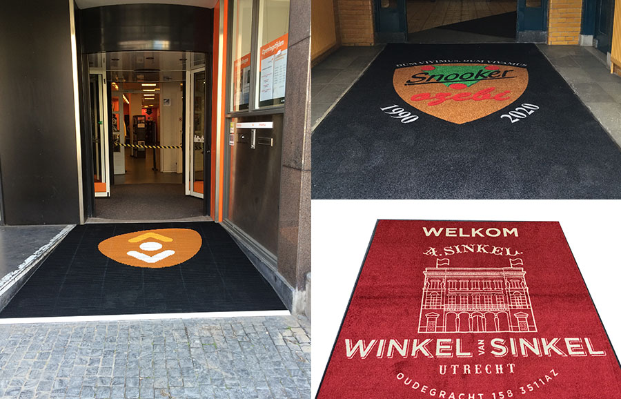 Deurmat met logo, voorbeelden in Utrecht.
